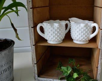 Hobnail White Milk Glass Creamer and Sugar Set White Tableware-Cottage- Farmhouse  Decor