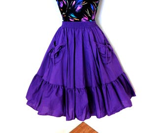 Vintage 60s 70s Square Dance Dancing Full Skirt Purple MALCO MODES Pockets Ruffle Western Summer Festival Theater S Small
