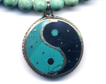 Ying Yang Pendant, Yin Yang Pendant, Black Onyx Turquoise Necklace, Tibetan Necklace, Turquoise Black Magnesite Nepal Jewelry by AnnaArt72