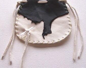 Beautiful Deerskin Medicine Bag ...White and Black