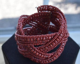 ON SALE Pretty Vintage Dark Red Glass Beaded Woven Cuff Bracelet, Small (M6)