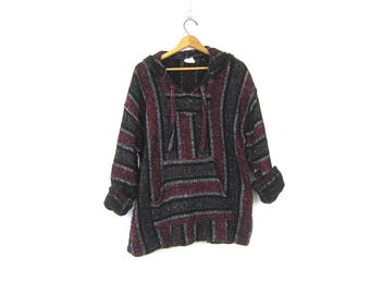 Drug Rug Hoodie 90s Knit Pullover Mexican Jacket Purple Black Hooded Sweatshirt Hippie Boho Ethnic Vintage Blanket Top Kangaroo Pocket Large