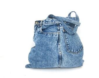 Jean Purse Vintage Denim Bag Large Slouchy Cotton Hipster Shoulder Tote Grunge Carry All Travel Bag School Tote Market Bag