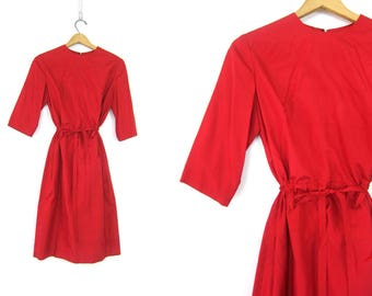 Red 1950s Dress Minimal Mod Party Dress Mid Century Vintage Cocktail Dress Retro Cinch Waist Wiggle dress Women's Size Small