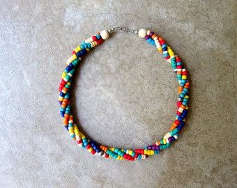 Natural Multi Colored Wooden Bead Necklace Minimal Woven Beaded Strand Choker Necklace Beach Natural Resort Vacation Necklace Womens Jewelry