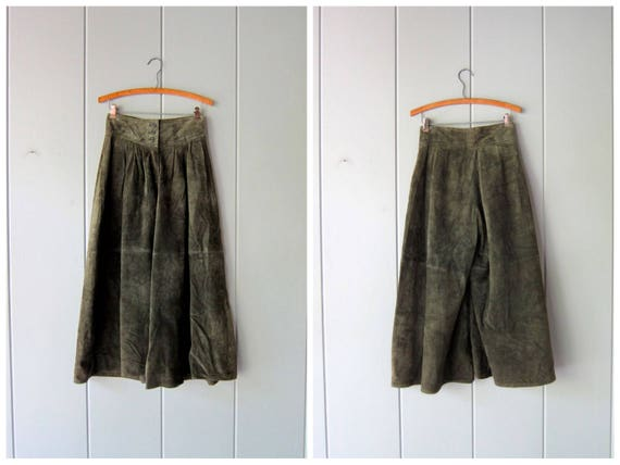 Dark Green Leather Palazzo Pants High Waist Suede Culottes Skirt Leather Modern Gaucho Pants Wide Leather Capri Pants Womens XS 26 25 Waist