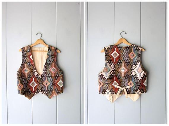 90s Ikat Southwestern Vest 90s Bohemian Tapestry Vest Vintage Western Vest Cropped Vest Shirt Womens Medium