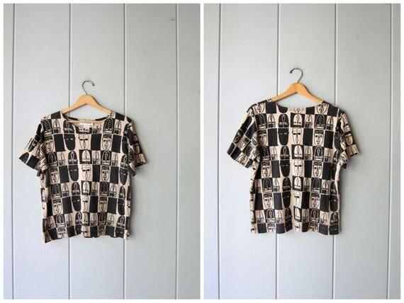 90s Printed Tshirt Beige Black Tee Shirt Artistic Cubism Print Cotton Tee Minimal Modern Vintage FACES Bock Print Hipster Top Womens Medium