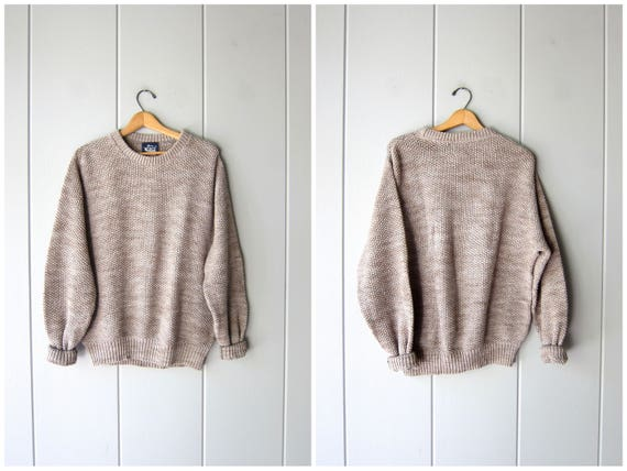 90s NUBBY Cotton Sweater Taupe Minimal Pullover Textured Soft Knit Slouchy Boyfriend Knit Shirt Preppy Boho Basic Sweater Mens Large