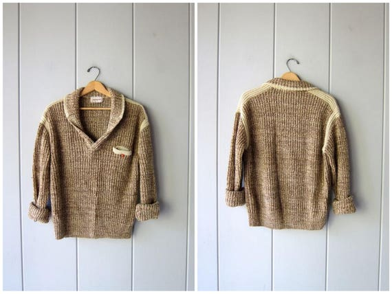 80s Chunky Sweater Vintage 70s Campus Brown Cream Marled Sweater Slouchy Henley Boyfriend Jumper Knit Collared Pocket Sweater Mens Medium