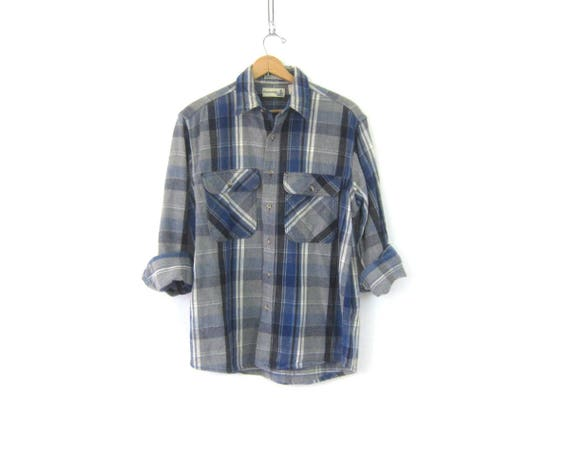 Oversized Flannel Shirt Blue Gray Plaid Cotton Flannel Button Up Slouchy Rugged Hunting Shirt Worn in Work Shirt Mens Size Large
