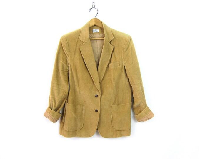 70s Corduroy jacket Coat Hipster fitted Blazer jacket Boho Tan Brown Ribbed Jacket Fall Corduroy Coat Preppy Tailored Jacket women's Large
