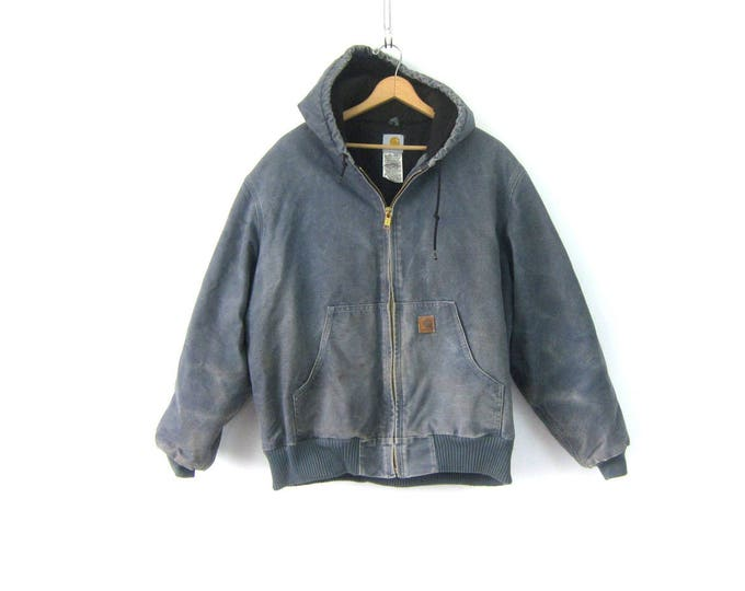 Blue Gray Carhartt Heavy Duty Insulated Lined Coat Hooded Canvas Barn Chore Jacket Rugged Distressed Ranch Coat with Hood Men's Size XL