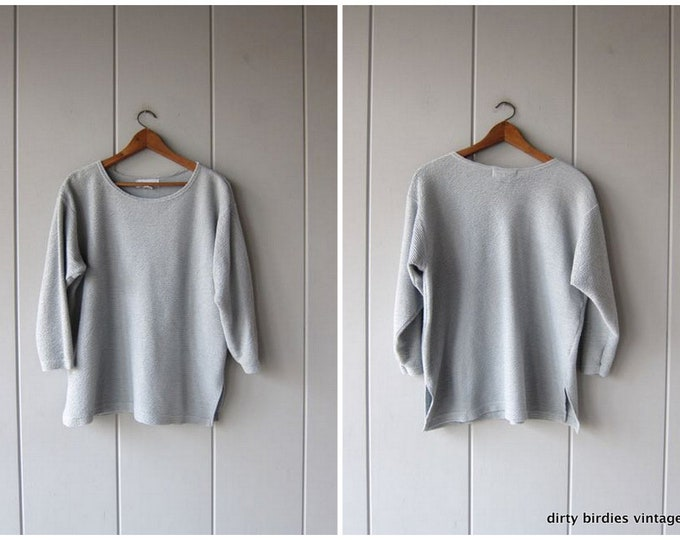 Oversized Thin Knit Sweater Cotton Textured Top Minimal Pale Blue Pullover Slouchy Preppy Light Weight Sporty Athletic Sweater Womens Medium
