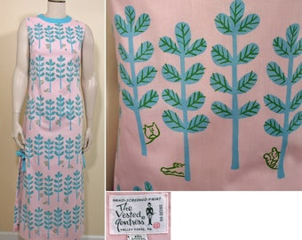 1960s Pink and Blue Cotton Blend Print Maxi Dress by Vested Gentress  SZ S