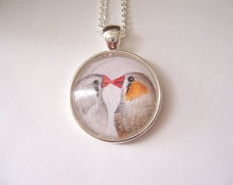 Love Birds drawing pendant necklace, wildlife wearable art, silver pendant bird jewelry, original pencil drawing, bird necklace