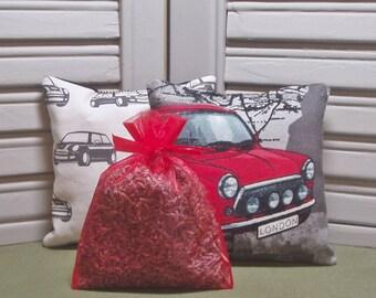 Mini Cooper, lavender sachets, set of 3 sachets, British gift, lavender pillow, sports car, car freshener, filled with 100% dried lavender