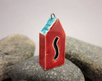 Red *S*...TWO-SIDED House Pendant by elukka