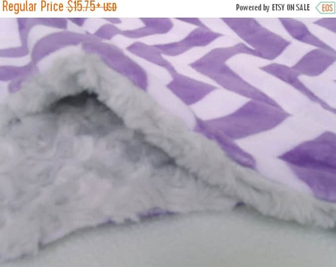 SALE Gray and Purple Chevron Minky Baby BlanketCan Be Personalized