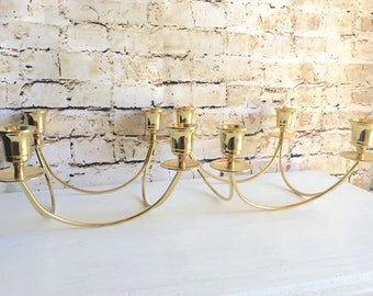 Pair of Hollywood Regency Gold Brass Candelabra Centerpiece for 4 Candles Each Holiday Decor