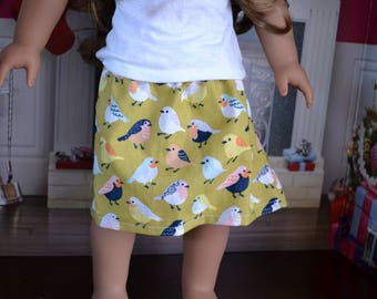 18 inch Doll Clothes - Singing Birds Skirt  - Everyday Essential - Mix and Match - YELLOW BLUE PEACH - fits American Girl
