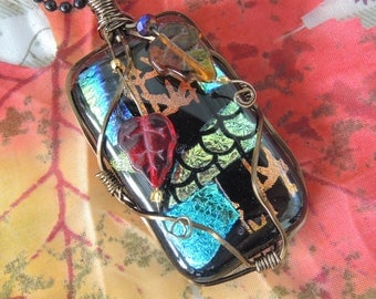 Fused Glass Wire Wraped Quilt - Turquoise, Red, Copper And Gold