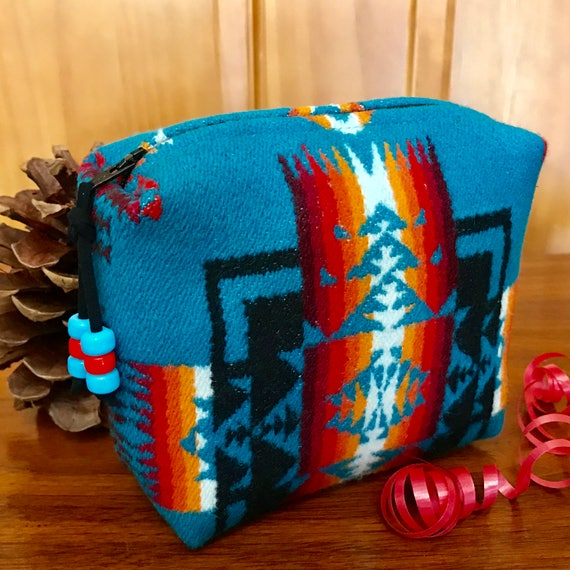 Cosmetic Bag / Makeup Bag / Zippered Pouch Medium Wool Turquoise Mini Chief Joseph
