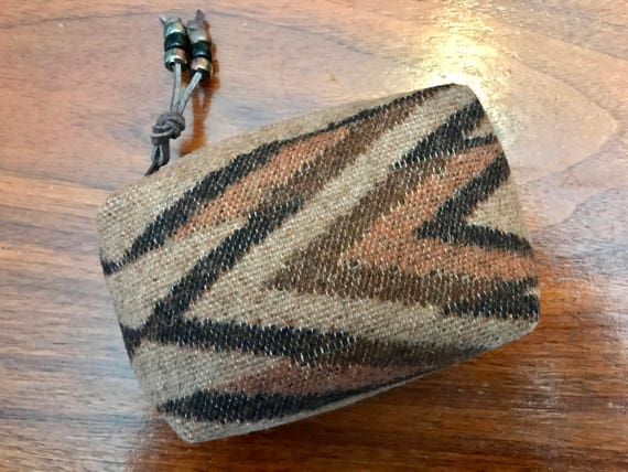 Cosmetic Bag / Makeup Bag / Zippered Pouch Small Brown