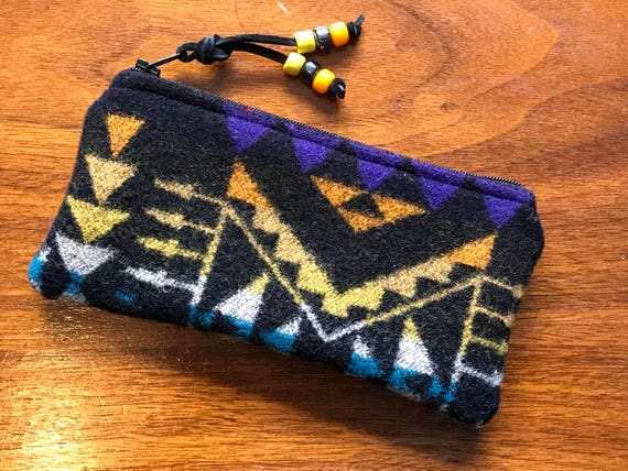 Wool Glasses  Case / Tampon Case / Zippered Pouch Black & Yellow
