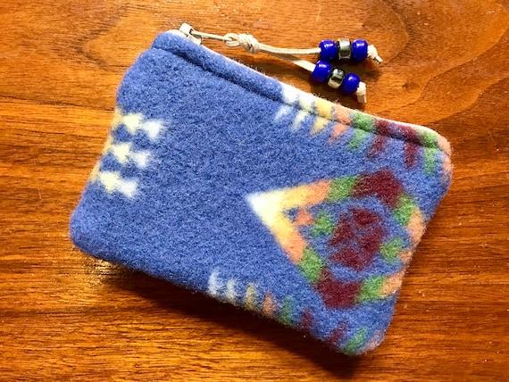 Wool Coin Purse / Gift Card Holder XL Denim Mini Chief Joseph