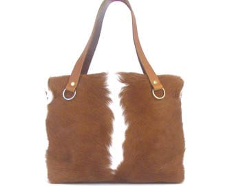 Brown and White Cowhide Tote - Black Cowhide Tote - Beige Cowhide Tote - Palomino Tote - Black and White Cowhide Tote - Tan and White Tote