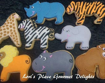 Zoo Animal Decorated Cookies - Zoo Cookies -  16 cookies