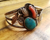 Signed Ed Lewis Sterling Silver, Coral & Turquoise Navajo Cuff Bracelet