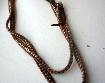 Chan Luu Leather and Gold Gilt Sterling Bead Necklace - Beaded Necklace.