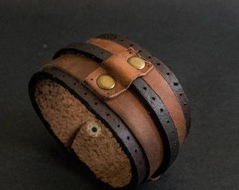 40% OFF SALE Men leather rustic wide cuff bracelet Mens jewelry. Brown wristband