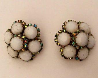 SALE - Kramer Rhinestone Earrings - 1950s vintage - aurora borealis rhinestones - clip on earrings - milk glass - wedding - troppobella