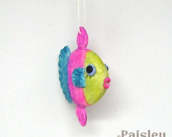 Pink Teal Yellow Striped Fish Ornament, painted polymer clay fish decoration