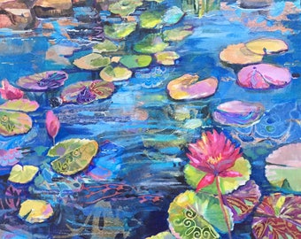 Original Acrylic Painting Waterlily Contemporary art