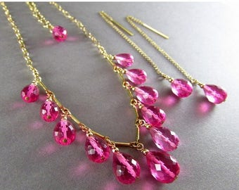 25 OFF Bright Pink Quartz Necklace And Earring Set