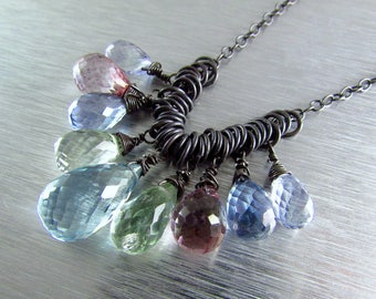 25 OFF Multi Pastel Gemstone With Oxidized Sterling Silver Necklace