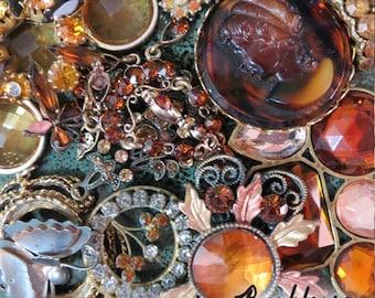 Amber Glitz, Vintage Jewelry Lot, Salvaged Jewelry, Jewelry Parts, Amber, Gems,