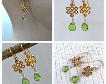 Peridot Earrings Peridot Gemstone Petite Earrings August Birthstone Birthday Gift Wire Wrapped 14kt Gold Filled Earrings
