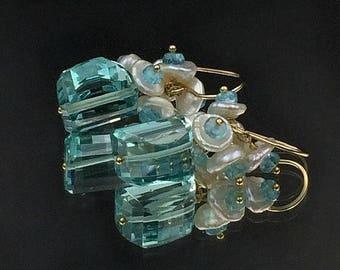 SUMMER SALE Aqua Earrings Keishi Pearl Cluster Earring Aqua Quartz Gemstone Cluster Earrings, 14kt Gold fill, Apatite Pearl Cluster Earrings