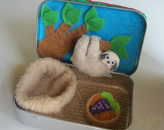 Tiny Sloth Baby felt stuffed animal Altoid tin play set with hanging tree snuggle bag and food -  Rain forest animal with bendable legs