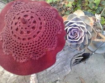 Burgundy Wool Beret with Hand Dyed Crochet