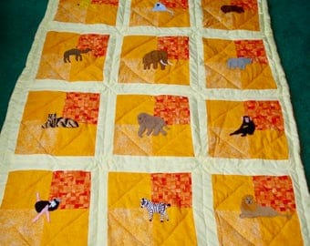 African Animals Crib Quilt, Hand Quilted, Hand Appliqued