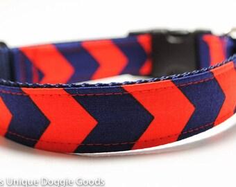 Rugby Chevron Stripe Red - Dog Collar