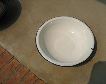 White with black trim enamel ware dish pan