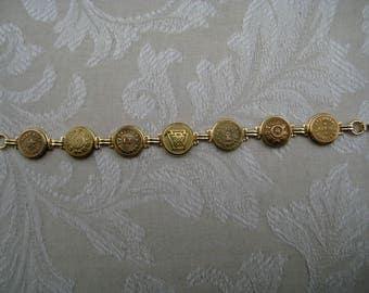 Goldtone  RAILROAD  BUTTON  BRACELET