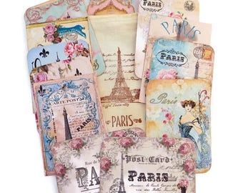 Scrapbook Paris Embellishment,Eiffel Tower Tags-Scrapbook-Stamped Muslin Bag-Destash French Vintage -Vintage Retro-Album-Art Journaling-Sale